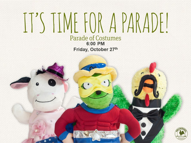 Flyer announcing Parade of Costumes at 6:00PM on Friday, October 27th