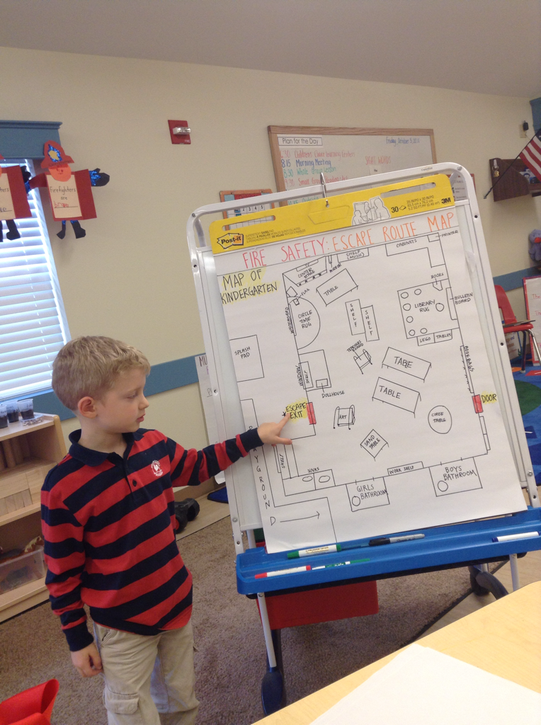 For their safety unit, the Kindergarten class plan a safe escape route map.