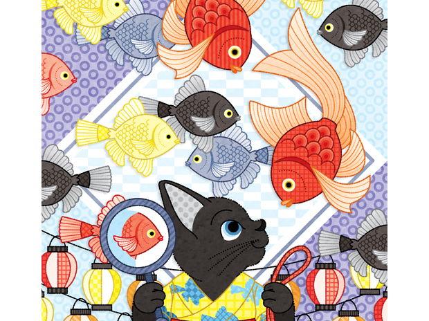 春夏秋冬四季の猫のイラスト集「夏祭り猫と金魚」(リメイク)