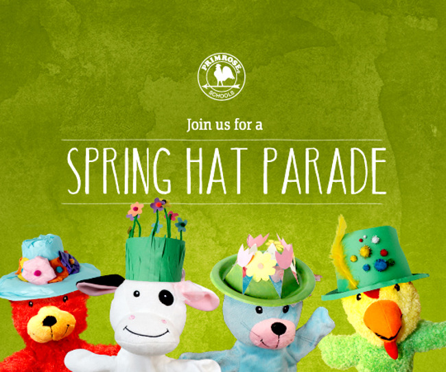 Spring hat parade poster with primrose puppets wearing decorative handmade spring hats