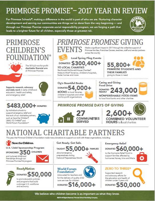 Infographic presentation banner for Primrose promise 2017