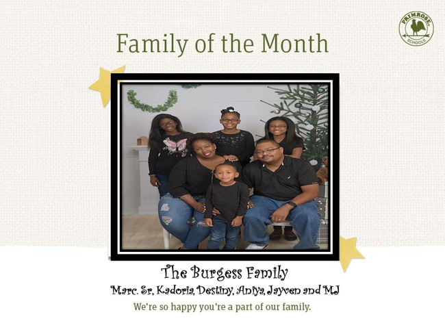 Congratulations on being our April Family of the Month!