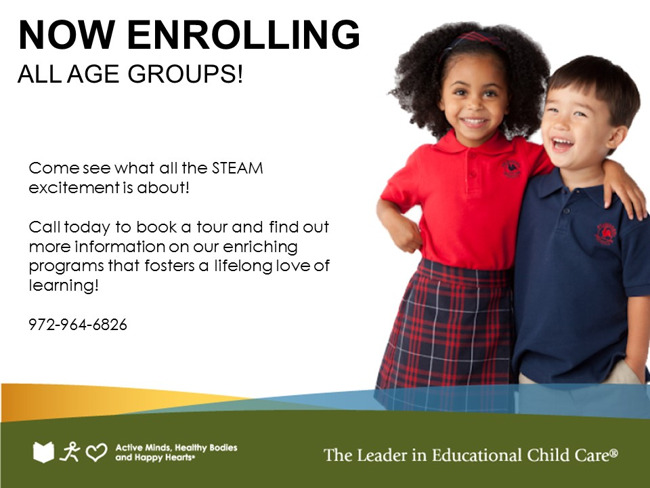 Now enrolling poster featuring two smiling Primrose students