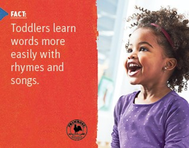 Poster explaining a scientific fact about toddlers learning music next to an image of a young girl singing