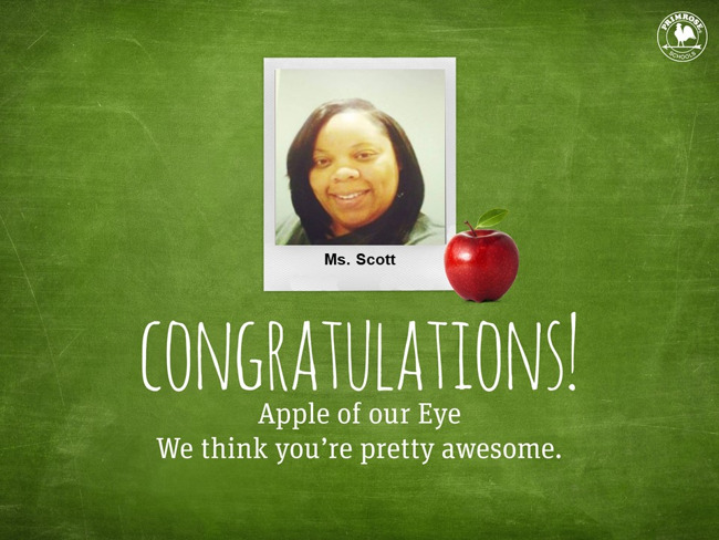 Congratulations Ms. Scott, we think you are pretty special!
