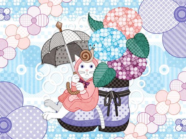 春夏秋冬四季の猫のイラスト集「紫陽花と蝸牛」(リメイク)