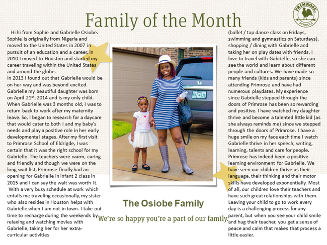 Family of the month Osiobe