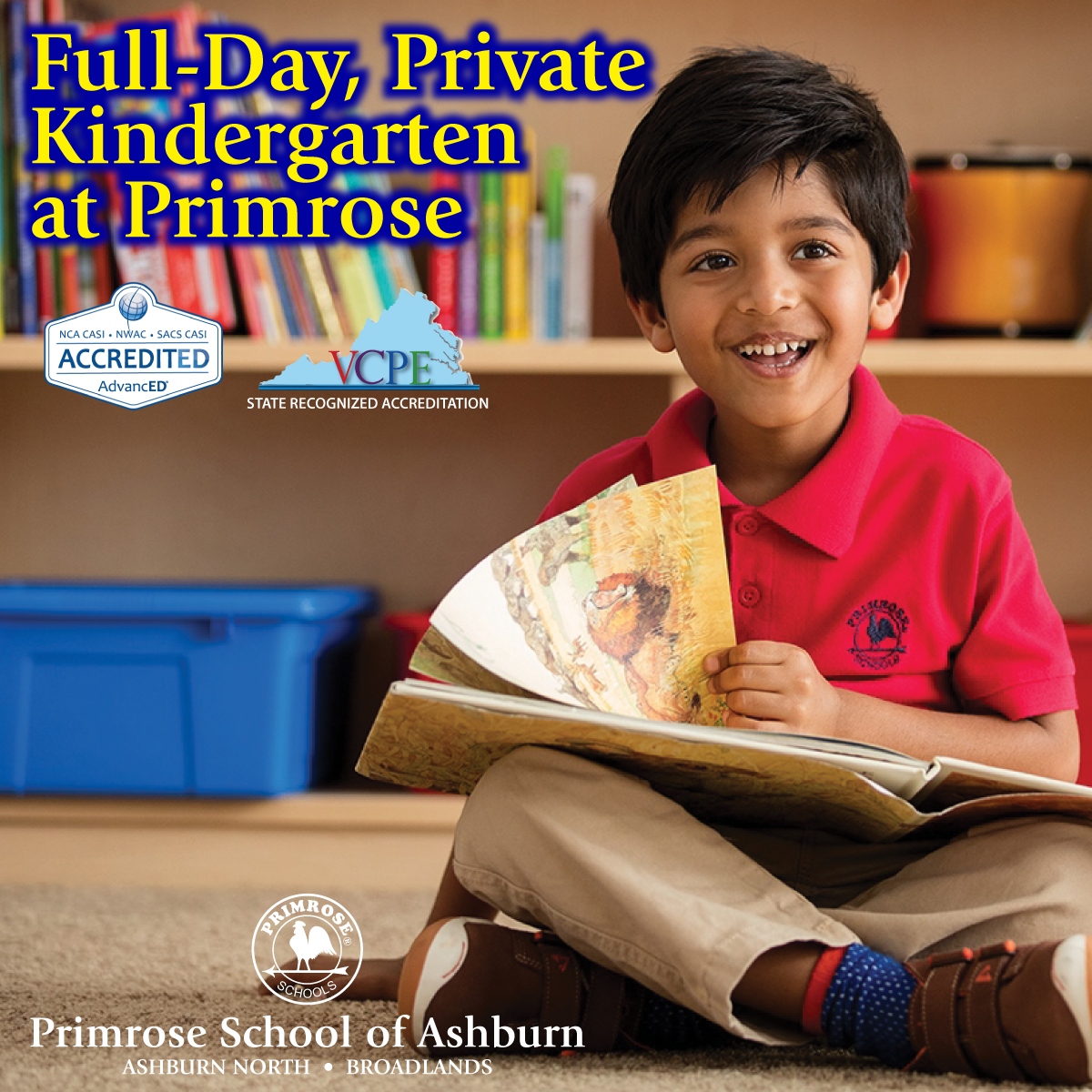 Full day kindergarten enrollment poster featuring a Primrose teacher smiling as her student looks through a microscope