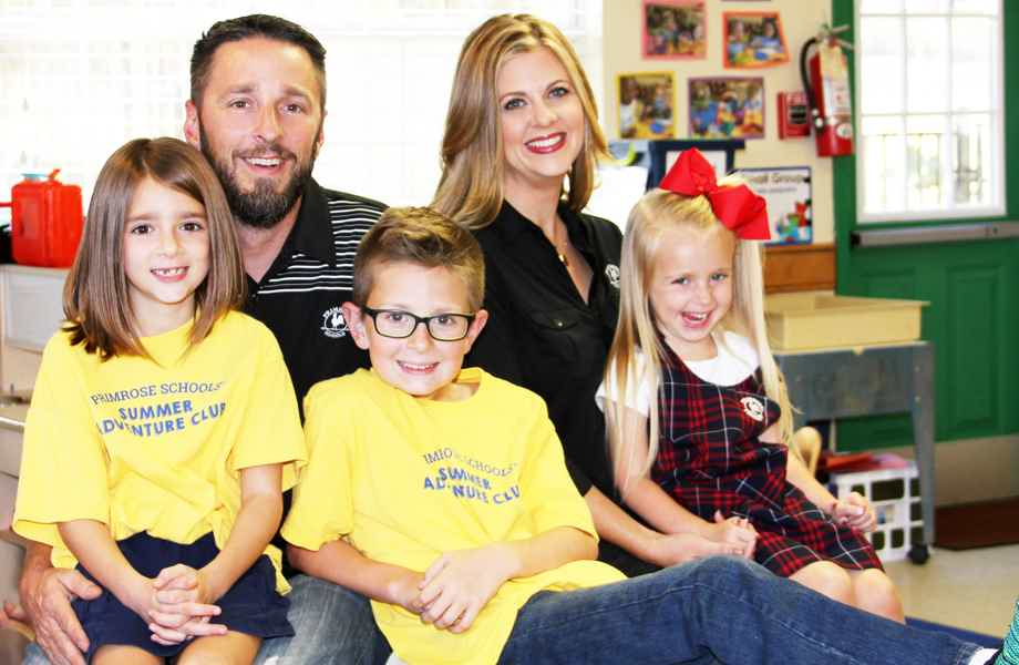 Franchise Owners of Primrose School Christy and Jared Black with their family