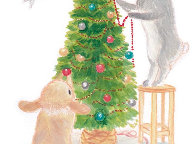 クリスマスツリーを飾る うさぎさん
