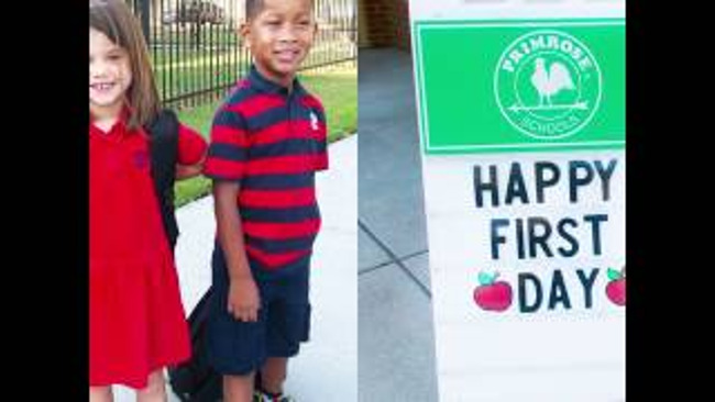 Happy first day of school poster with two young Primrose students standing excitedly outside school