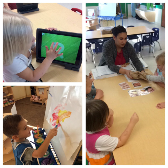 Pre schoolers paint, play card games and use a tablet as part of their morning routines