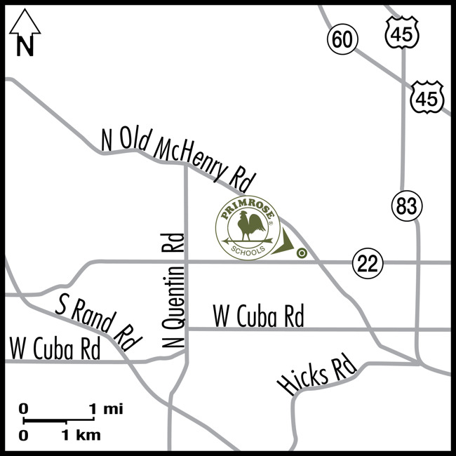 Map depicting the location of the Primrose school of Long Grove