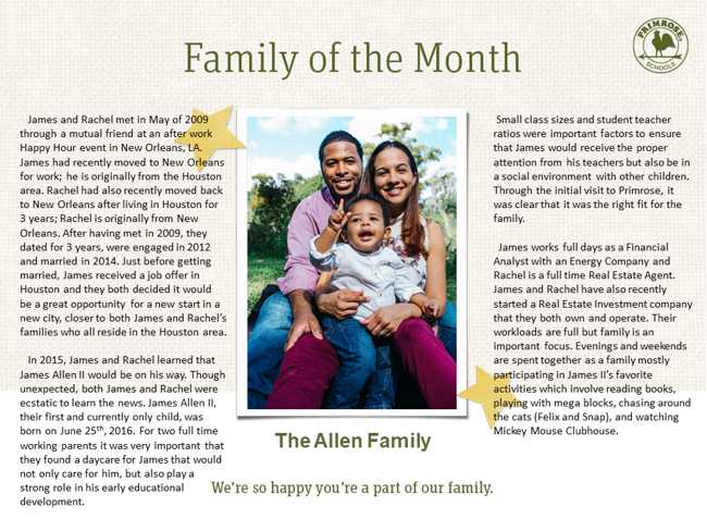 Bio information from the Allen family and a picture of the family