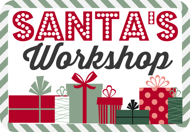 A decorative Santa workshop poster