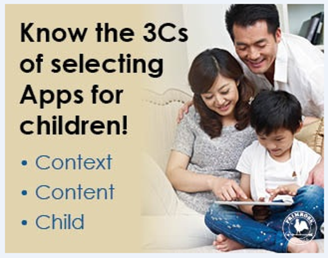 Poster describing the three things parents must look for when choosing apps for their children