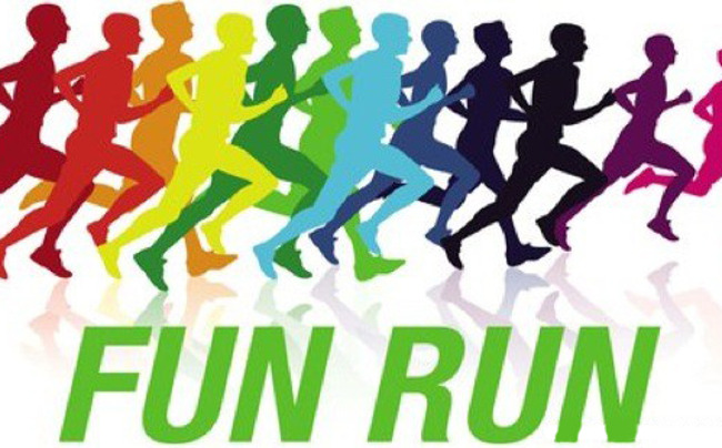 "Multicolored silhouettes of people running accompanied by the text ""Fun Run"""