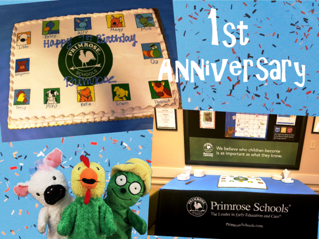 First anniversary poster featuring images of the Primrose puppets and the celebration cake