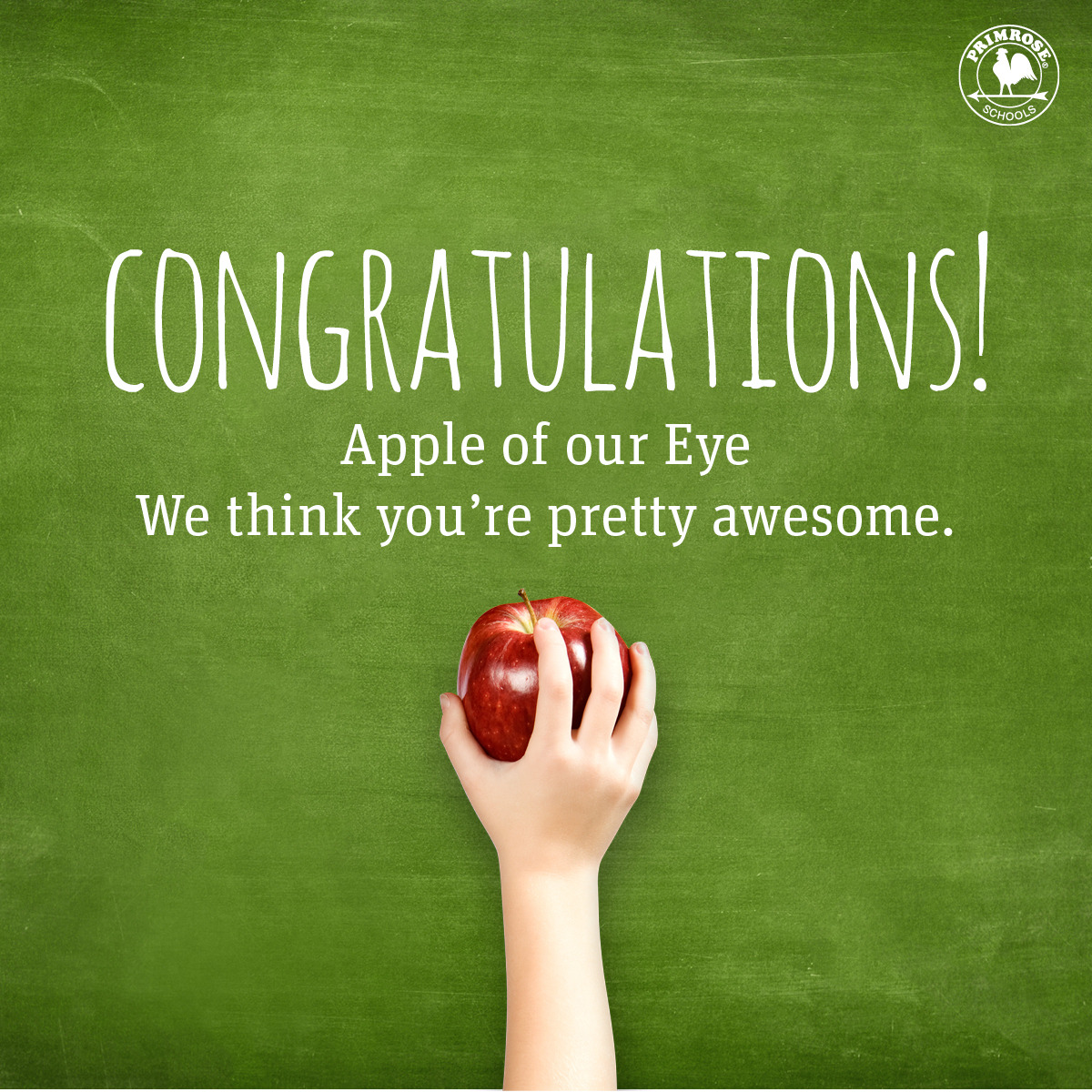 Poster congratulating Ms. Andrea Morgan as this month's apple of our eye