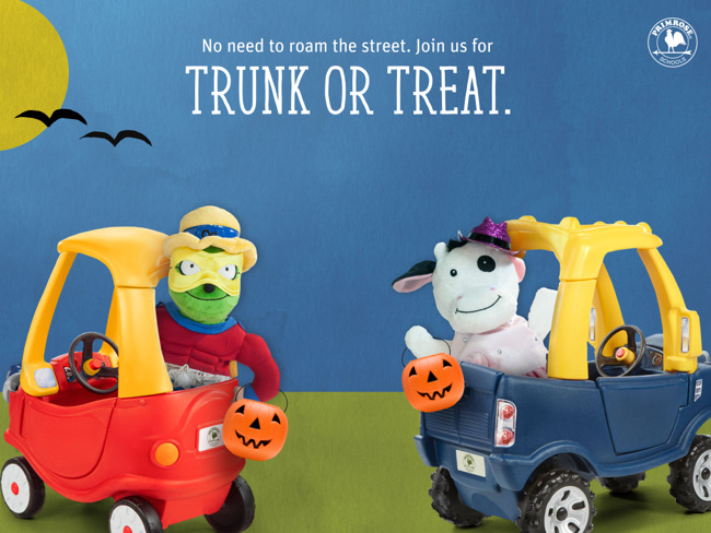 Primrose Trunk or Treat with car and 2 puppets dressed up
