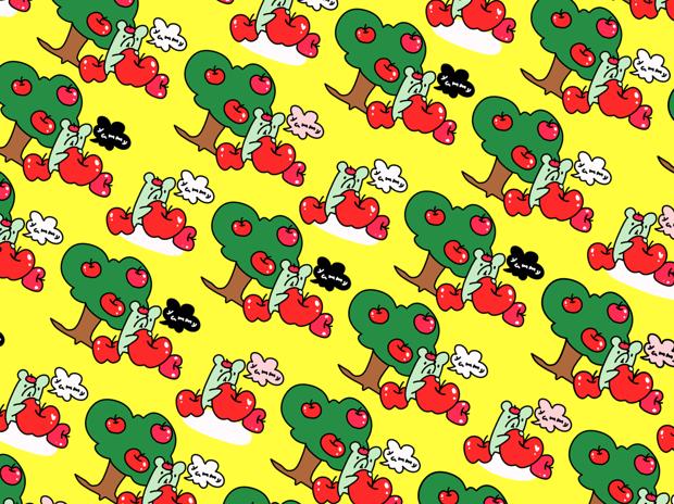 りんご狩り柄