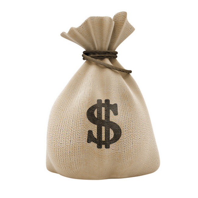 Sack of money labelled with the dollar sign and tied with a string