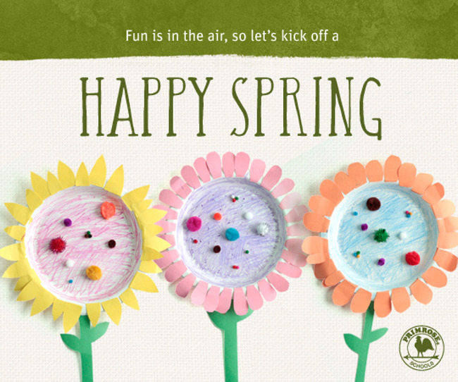 Happy spring poster featuring DIY paper plate sun flowers