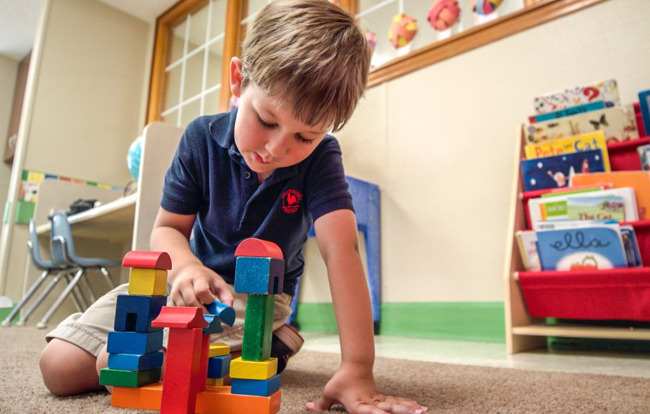 child blocks learning children preschool school balanced education curriculum frisco texas best childcare