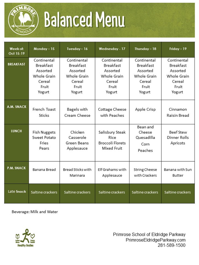 Menu for the week of October 15 through October 19