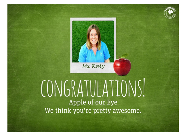 Congratulations Ms. Katy for Apple of our Eye!