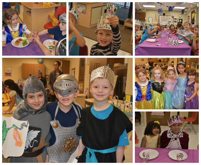 Collage of students enjoying various activities on medieval day
