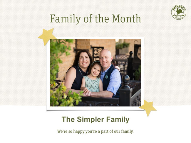 family of the month simpler mom dad daughter primrose bench happy smiling flowers
