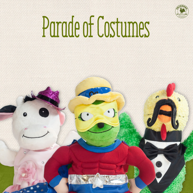 Three puppets in costume