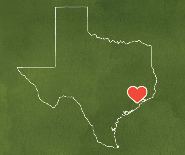 Map of Texas, with a heart placed over Houston, to express solidarity with the survivors of Hurricane Harvey
