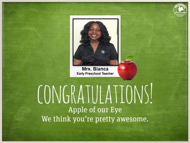 teacher receiving award for outstanding work