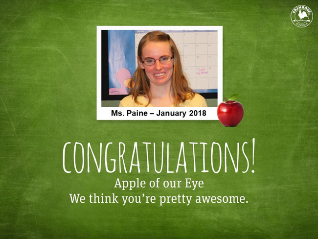 Apple of our Eye - Ms. Paine - January 2018
