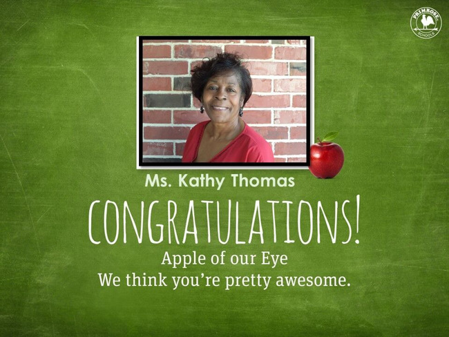 Congratulations Ms. Thomas on being our March Apple of Our Eye, we think you are pretty special!