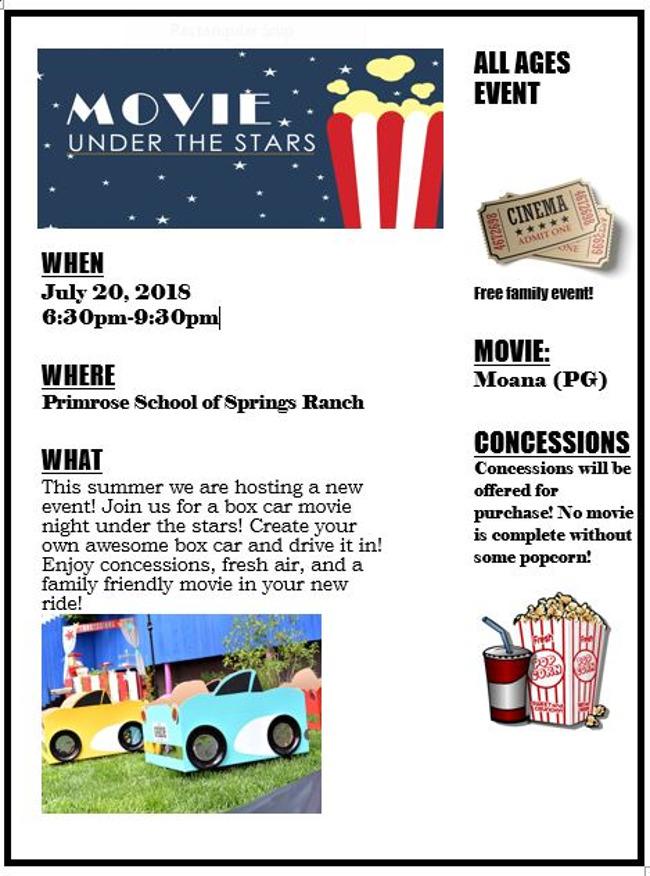 Movie under the stars flyer