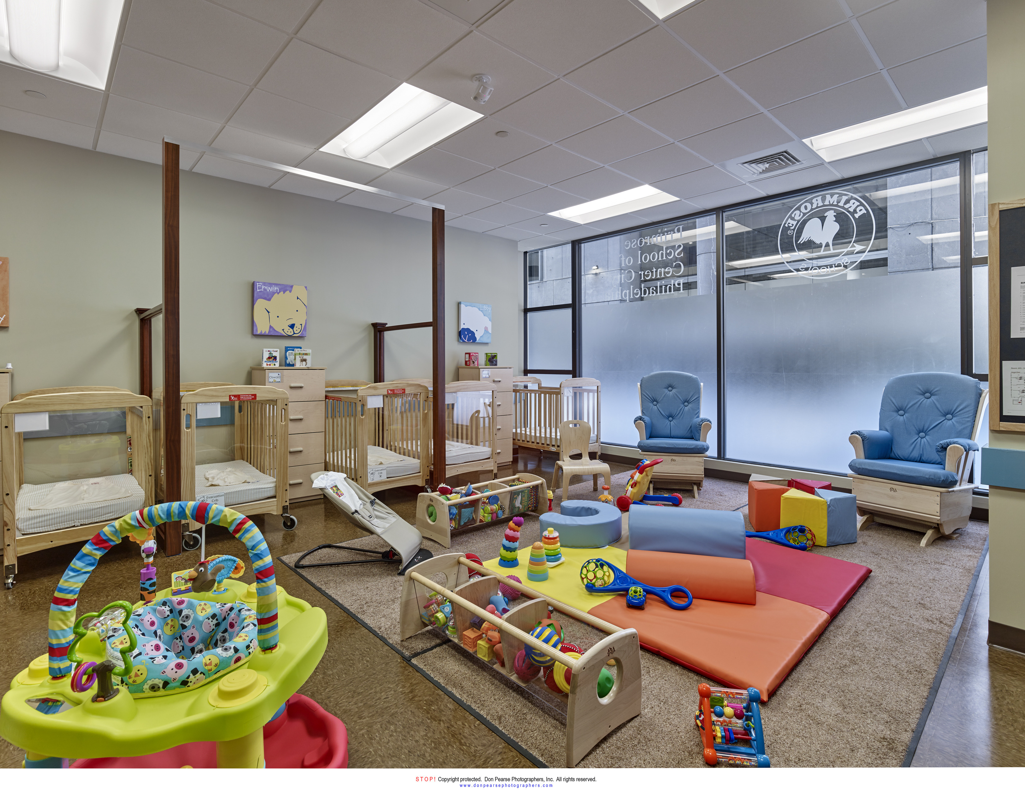 Interior of the infant room at Primrose school of Center City Philadelphia