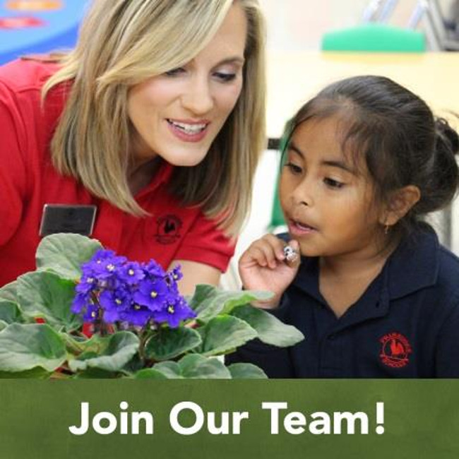 Join our team poster featuring a Primrose teacher showing her student different parts of a flower plant