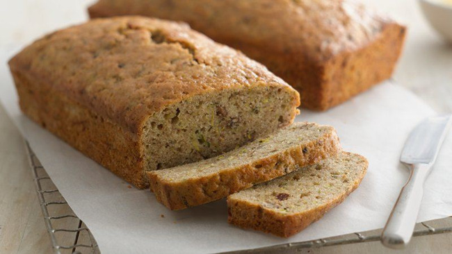 Close up of a loaf of zucchini bread