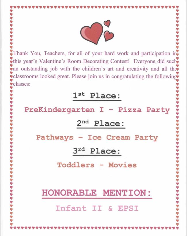 Valentine's Room Decorating Contest