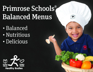 Primrose schools balanced menus poster featuirng a young Primrose student wearing a chef's hat and holing a veggie basket