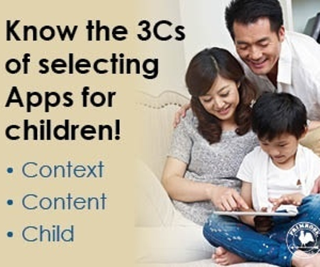 Poster listing the three things to keep in mind while selecting apps for children