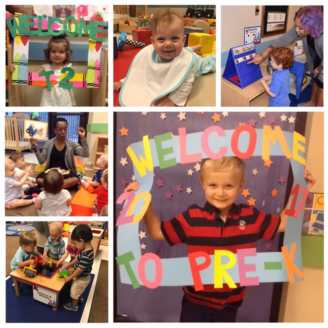 Collage of students of Primrose school of Midtown colony square enjoying their first day of school