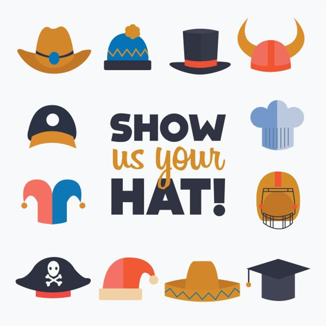 """Show us your hat!"" poster featuring different kinds of hats"