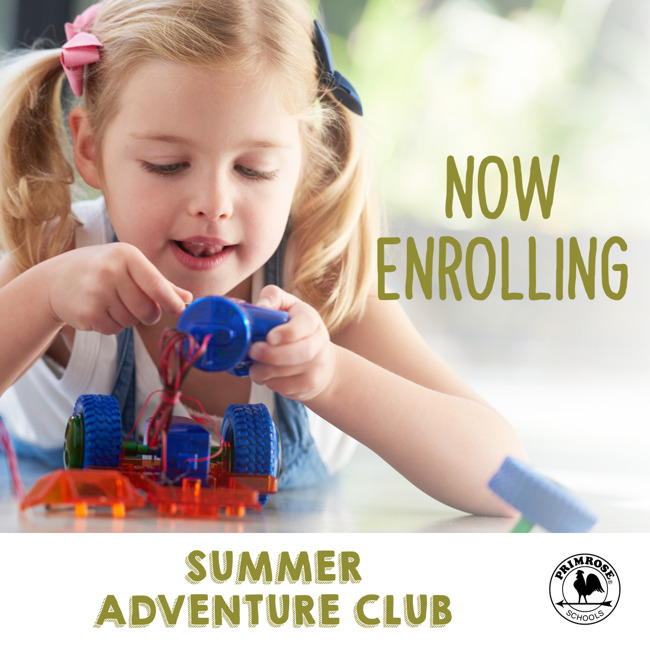 young child working on robotics; text is now enrolling summer adventure club