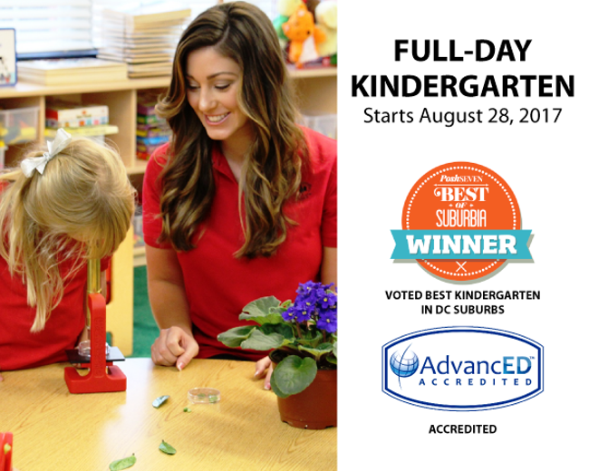 Now enrolling poster for full day KG featuring a Primrose teacher smiling as her student looks through a microscope