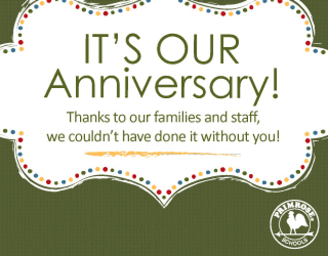 Anniversary poster thanking all the Primrose staff and families