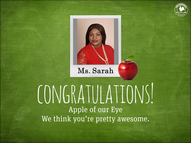 Black woman in red in the center smiling while being congratulated for being the apple of the eye in text below